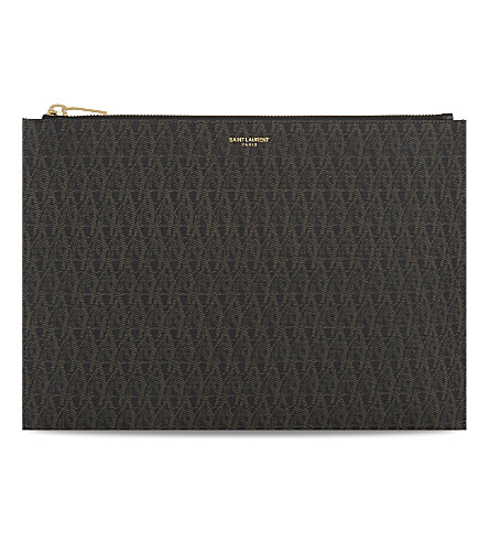 SAINT LAURENT Monogram leather pouch (Brown