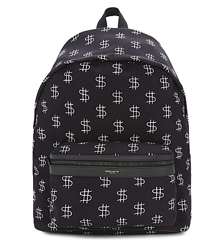SAINT LAURENT City dollar sign canvas backpack (Noir