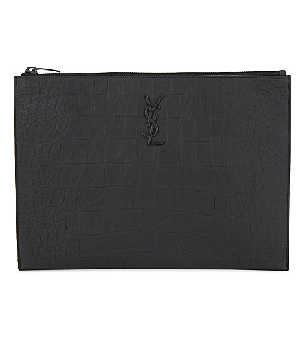SAINT LAURENT Croc-embossed leather tablet holder (Black