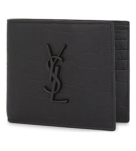 SAINT LAURENT Monogram crocodile-embossed leather wallet (Black