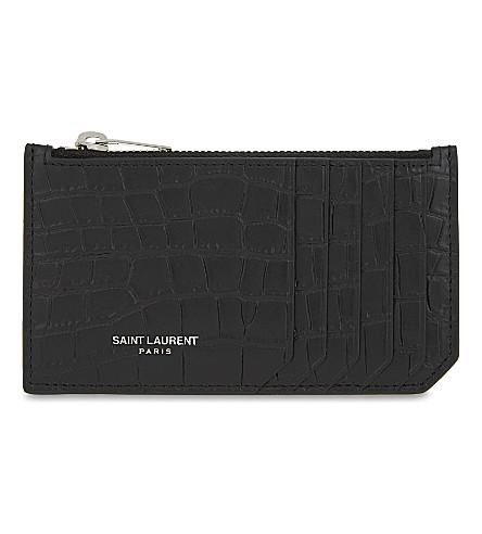 SAINT LAURENT 鳄鱼浮雕皮革卡袋 (黑色