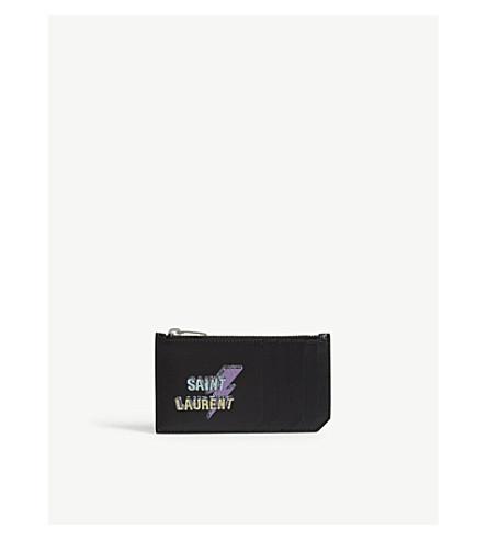 SAINT LAURENT Studded leather card case (Black+multi
