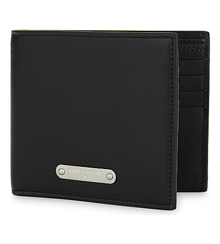 SAINT LAURENT Sl plaque leather billfold (Black