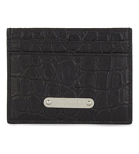 SAINT LAURENT Plaque croc-embossed leather card holder (Black