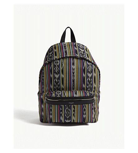 SAINT LAURENT City Ikat canvas backpack (Multi
