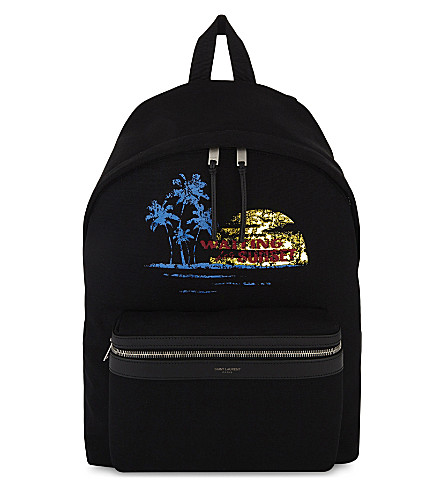 SAINT LAURENT Waiting for Sunset cotton backpack (Black+multi