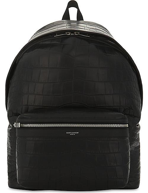 SAINT LAURENT City crocodile-embossed leather backpack c8b785517d8ab