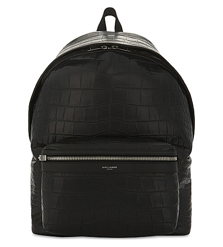 SAINT LAURENT City crocodile-embossed leather backpack (Black