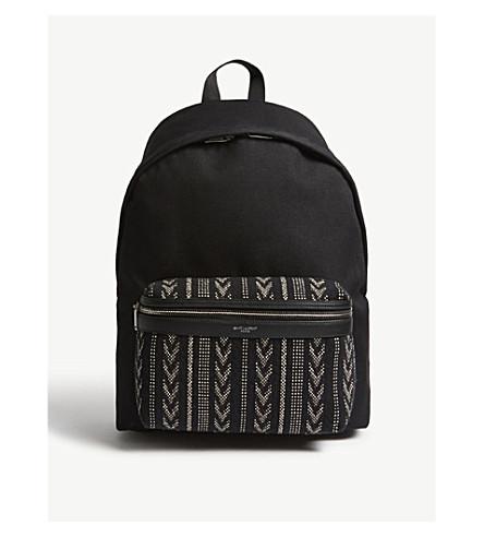 SAINT LAURENT City Ikat canvas backpack (Off-white