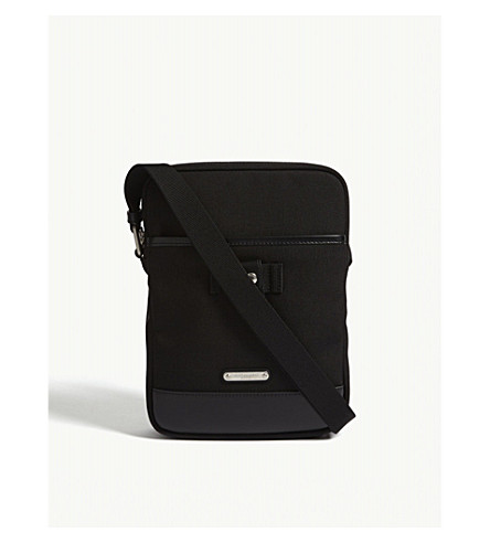 SAINT LAURENT Rivington canvas and leather cross-body bag (Black