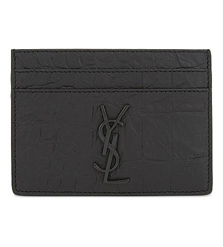 SAINT LAURENT Monogram crocodile-embossed leather card holder (Black
