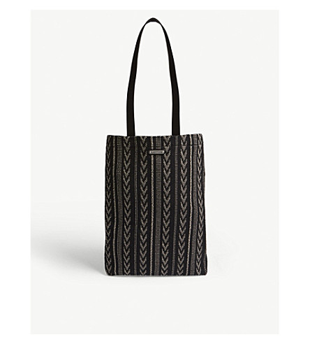 SAINT LAURENT Chevron and striped ikat tote (Black+white