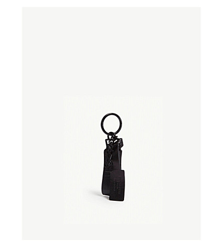 SAINT LAURENT 鳄鱼压花和字母标志钥匙扣 (黑色