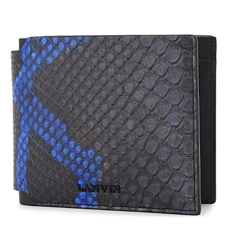 LANVIN Bi-colour python-embossed leather wallet (Electric+blue