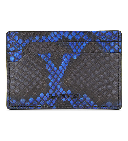 LANVIN Bi-colour python-embossed leather card holder (Electric+blue