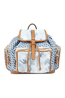 PIERRE HARDY Leather-trimmed neoprene backpack