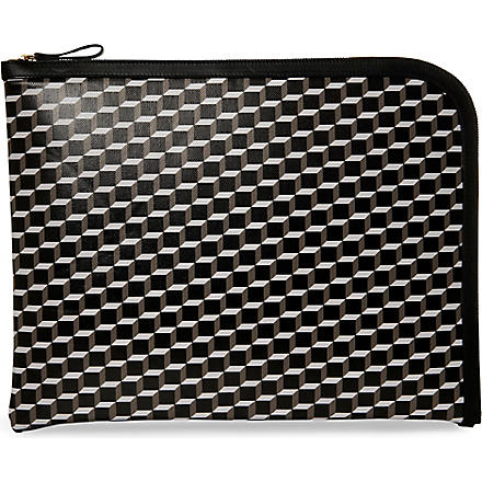 PIERRE HARDY Cube–printed document case (Black/black