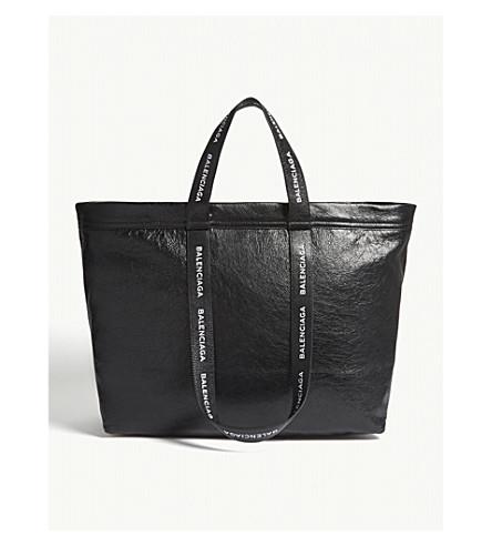 BALENCIAGA Logo strap medium leather tote (Blk+wht
