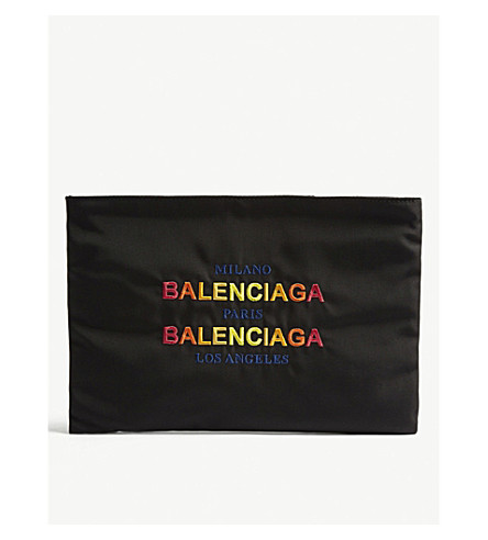 BALENCIAGA Explorer canvas pouch (Blk+multi