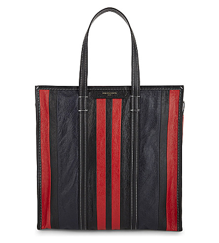 BALENCIAGA Bazar medium leather shopper (Red+black