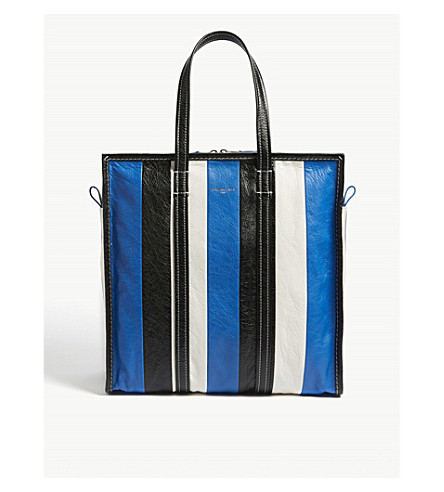 BALENCIAGA Bazar medium striped leather shopper (Blue+wht+blk