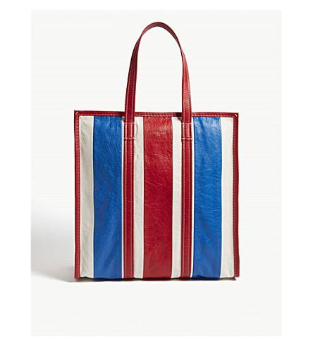 BALENCIAGA Bazar medium striped leather shopper (Blue+wht+red