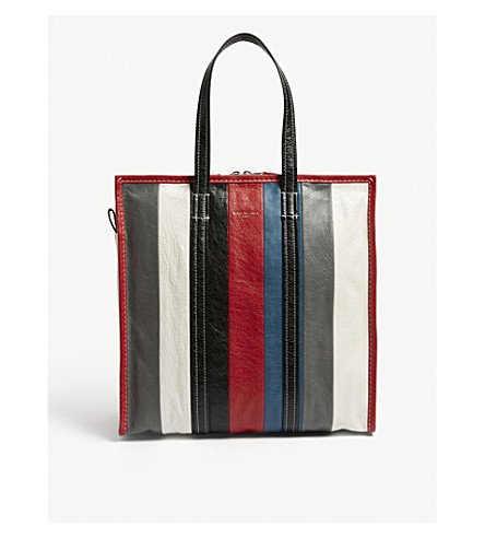 BALENCIAGA Bazar medium striped leather shopper (Gry+blk+wht+red+blue