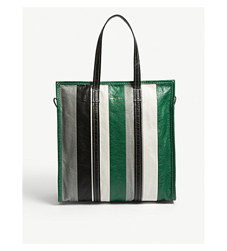 BALENCIAGA Bazar medium striped leather shopper (Grn+gry+blk+wht