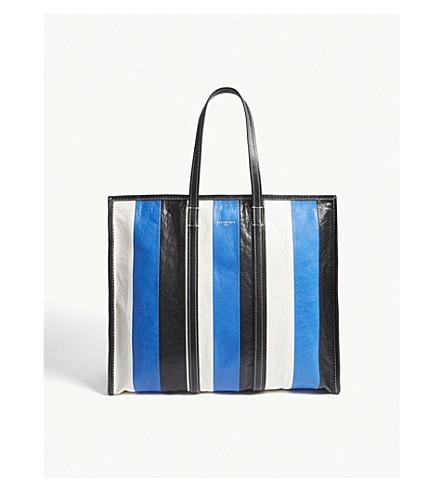 BALENCIAGA Bazar large striped leather shopper (Blue+wht+blk