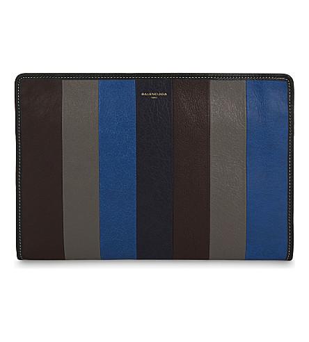 BALENCIAGA Bazar calf leather pouch (Blue+grey