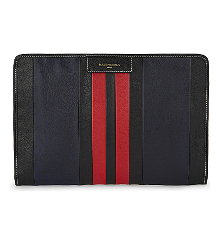 BALENCIAGA Bazar calf leather pouch (Red+black