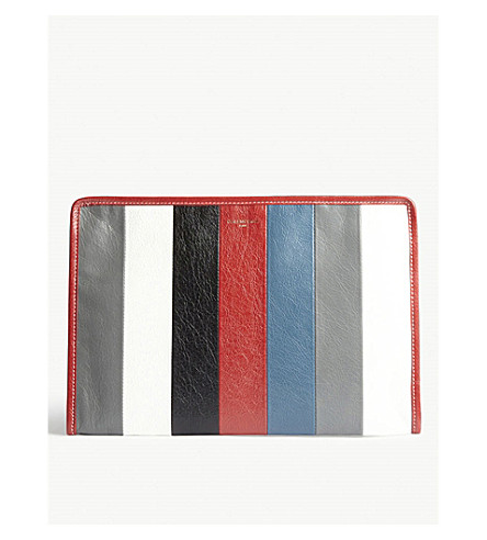 BALENCIAGA Bazar striped leather pouch (Gry+blk+wht+red+blue