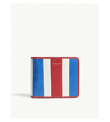 BALENCIAGA Bazar striped leather wallet (Blue+wht+red
