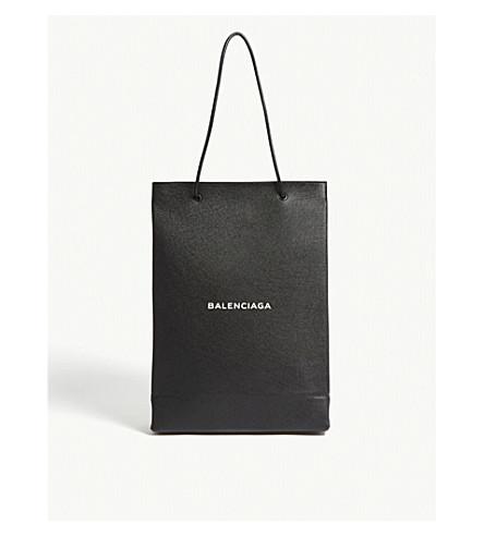BALENCIAGA North-South medium grained leather shopper (Black+white