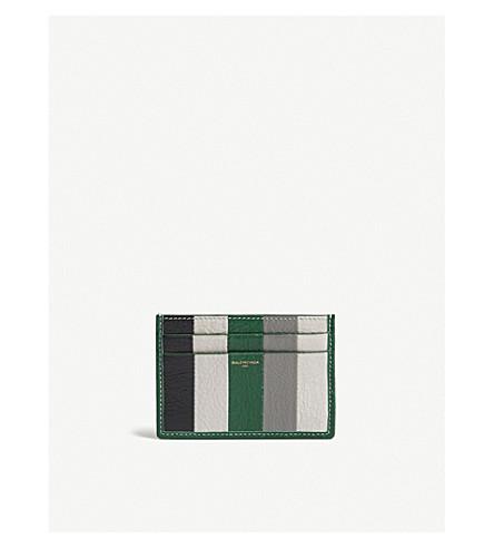 BALENCIAGA Bazar striped leather card holder (Grn+gry+blk+wht