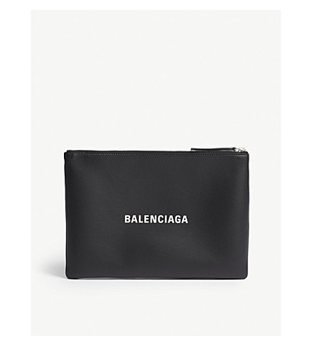 BALENCIAGA Everyday logo leather pouch (Black+yellow