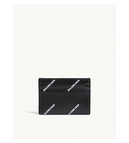 BALENCIAGA Logo leather card holder (Black+white