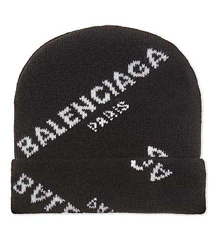 BALENCIAGA Logo print virgin wool beanie (Black+white