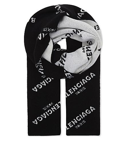 BALENCIAGA Logo print virgin wool scarf (Black+white