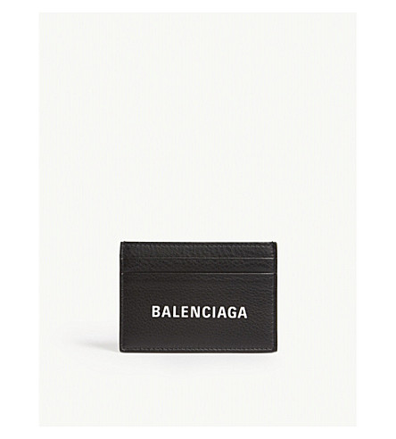 BALENCIAGA Baltimore grained leather card holder (Black