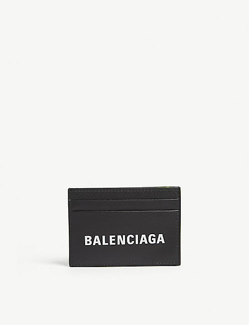 Card holders mens bags selfridges shop online balenciaga everyday logo grained leather card holder reheart Choice Image
