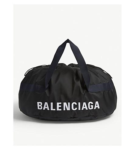 BALENCIAGA Embroidered logo nylon wheel bag (Navy+black