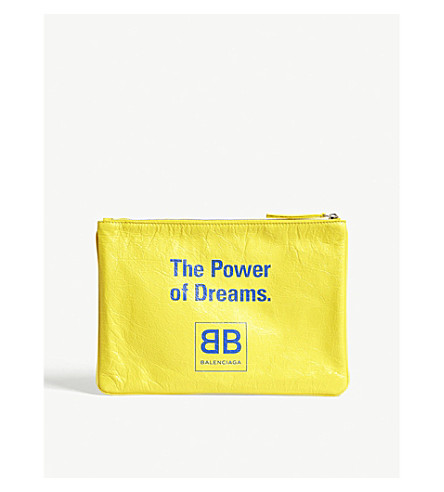 BALENCIAGA The Power of Dreams leather pouch (Yellow