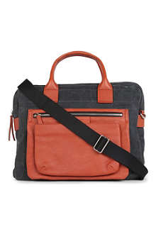 MARC BY MARC JACOBS Cotton and leather colourblocked briefcase