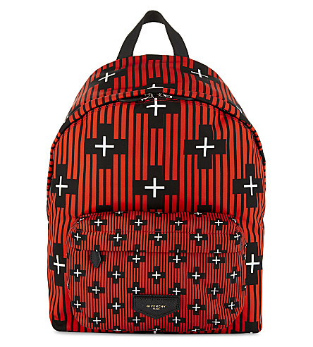 GIVENCHY Crosses print nylon backpack (Red+black