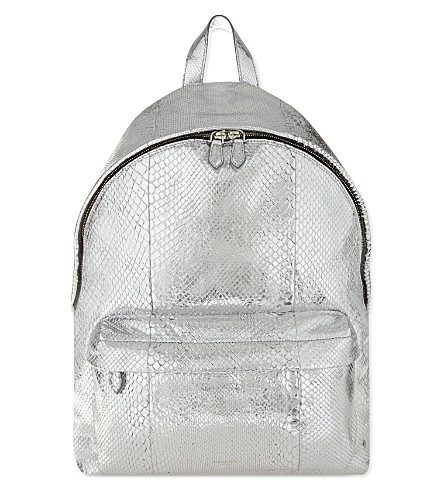 GIVENCHY Classic metallic python backpack (Silver