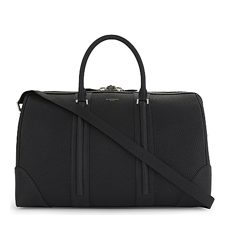 GIVENCHY Taurillon grained leather weekend holdall (Black