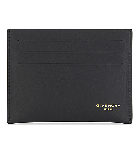 GIVENCHY Circle and star leather card holder (Black/white