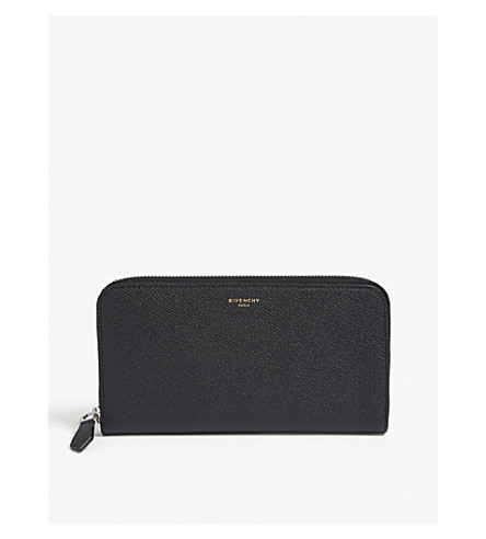 GIVENCHY Grained leather zip-around wallet (Black