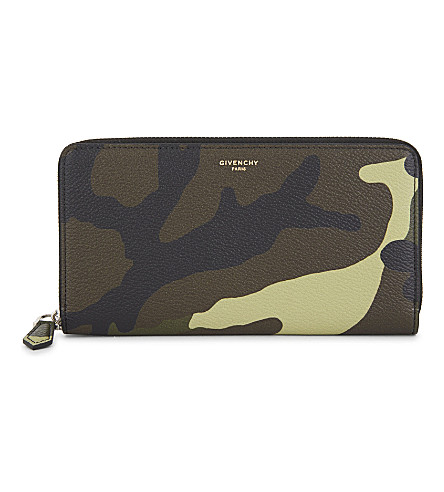 GIVENCHY Camouflage grained leather long zipper-around wallet (Multi